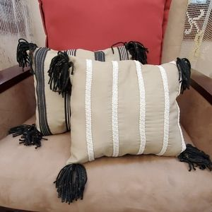 Bundle of 2 artisan pillows beige w/stripes & tass